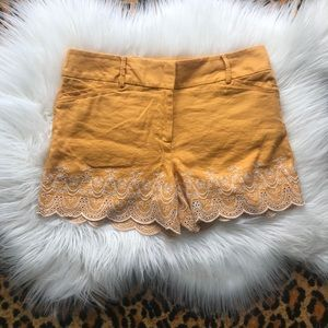 LOFT linen blend scalloped eyelet gold shorts